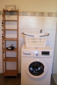 Apt. 2 Im Bad befindet sich auch eine Waschmaschine.