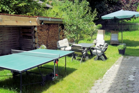 You are welcome to play table tennis in our garden.